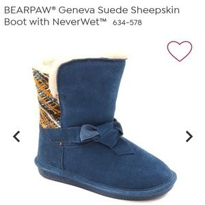 Bearpaw blue suede water proof boots
